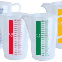 Transparente målebegere, fargekodede